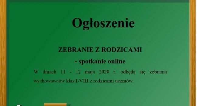 Ogłoszenie ZEBRANIE Z RODZICAMI – spotkanie online